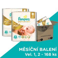 Pampers Pleny Premium Care Velikost 1 + Velikost 2 - 168 ks