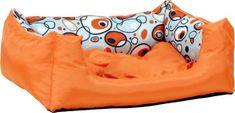 Argi prostokątne legowisko z poduszką, pomarańczowe ze wzorem