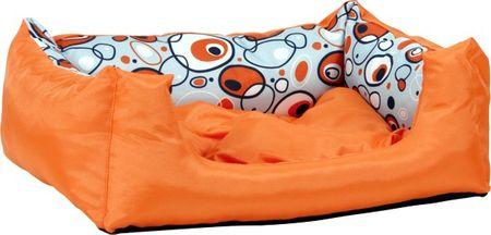 Argi prostokątne legowisko z poduszką, pomarańczowe ze wzorem, rozm. S