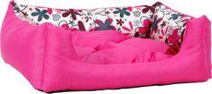 Argi prostokątne legowisko z poduszką, różowe ze wzorem