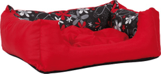 Argi prostokątne legowisko z poduszką, czerwone ze wzorem
