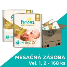 Pampers Premium Care Plienky Veľkosť 1 + Veľkosť 2 - 168 ks