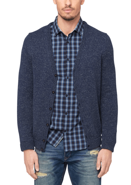s.Oliver pánský svetr na knoflíky S modrá
