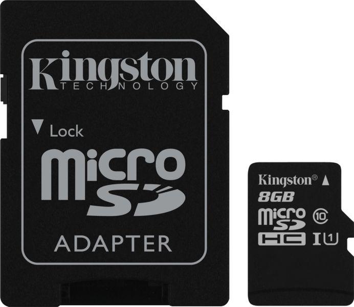 Kingston microSDHC 8GB UHS-1 (class 10) Gen2 45MB/s + adaptér