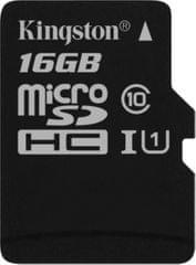 Kingston pomnilniška kartica microSDHC 16GB Class 10 UHS-I (SDC10G2/16GBSP)
