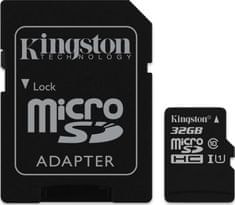 Kingston microSDHC spominska kartica 32 GB C10 UHS-I + adapter (SDC10G2/32GB)