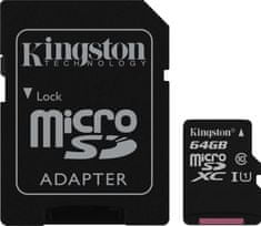 Kingston memorijska kartica MicroSDXC  64 GB class10 45MB/s + SD adapter