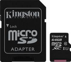 Kingston memorijska kartica MicroSDXC  64 GB class10 45MB/s + SD adapter