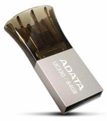 A-Data UC330 64GB, USB 2.0 + micro USB, stříbrný