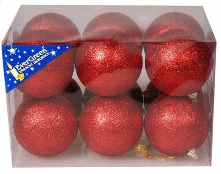 EverGreen bleščeče božične bunkice, rdeče, 8 cm, 12 kos