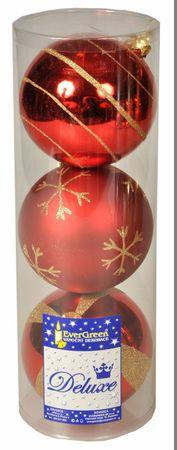 EverGreen božične bunkice, rdeče, 12 cm, 2 kos sijoče + 1 kos mat