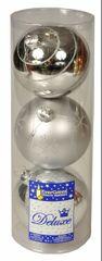 EverGreen božične bunkice, srebrne, 12 cm, 2 kos sijoče + 1x mat