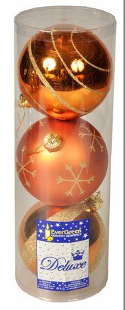 EverGreen božične bunkice, bakrene, 12 cm, 3 kos sijoče + 1 kos mat
