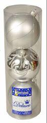 EverGreen božične bunkice, srebrne, 12 cm, 1 kos sijoč + 2 kos mat