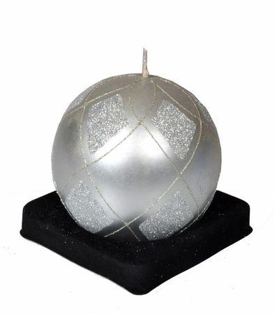 EverGreen Sviečka guľa, priemer 10 cm, strieborná