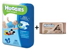 Huggies Pieluszki Ultra Comfort Boy 3 (5-9 kg) - 56 szt. + Chusteczki nawilżane Soft Skin - 64 szt.