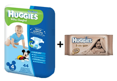 Huggies Pieluszki Ultra Comfort Boy 4 (8-14 kg) - 44 szt. + Chusteczki nawilżane Soft Skin - 64 szt.