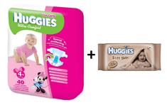 Huggies Pieluszki Ultra Comfort Girl 4+ (10-16 kg) - 40 szt. + Chusteczki nawilżane Soft Skin - 64 szt.