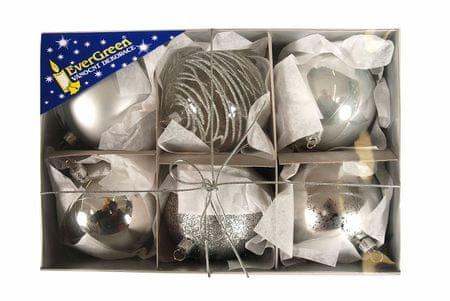 EverGreen božične bunkice mix Luxus, srebrne, 8 cm, 6 kos