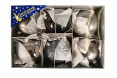 EverGreen božične bunkice mix Luxus, kovinsko srebrne, 8 cm, 6 kos