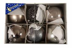 EverGreen božične bunkice mix Luxus, kovinsko srebrne, 10 cm, 6 kos