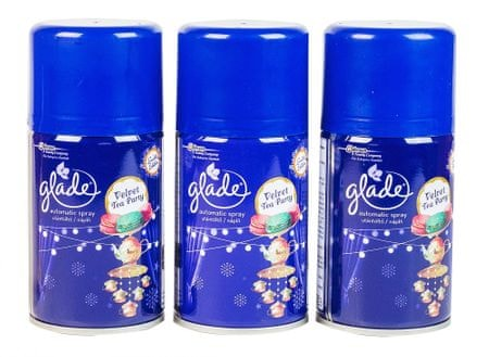 Glade Świece zapachowe 3 x Glade by Brise Automatic spray Velvet Tea Party 269 ml