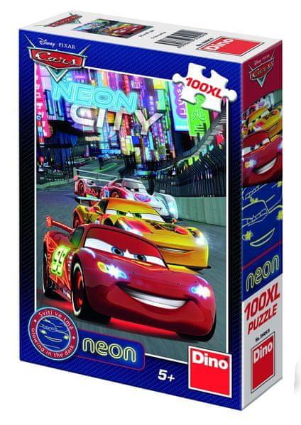 Dino Puzzle Cars neon 100XL dílků