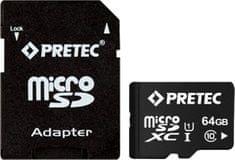 Pretec microSDXC 64GB UHS-1 (class 10) + adaptér