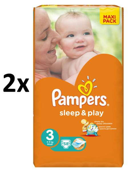 Pampers Pleny Sleep&Play Economy 3 Midi - 116 ks