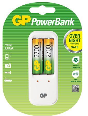 GP PowerBank polnilec baterij PB410 + 2 x baterija AA 2700 mAh