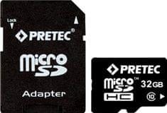 PRETEC karta pamięci microSDHC 32 GB (class 10) + adapter na SD