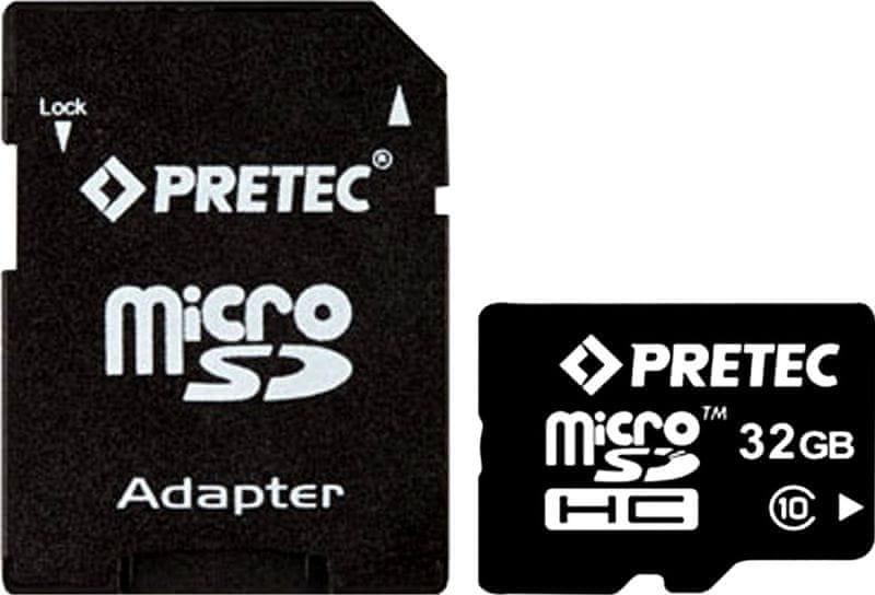 Pretec microSDHC 32GB (class 10) + adaptér