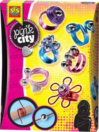 SES Pink city Pierścionki z kolorowych drucików