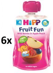 HiPP BIO Kapsička Broskve-Lesní ovoce - 6 x 90g