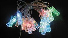 Noel Řetěz kolíčky 20 LED 2,85+1,5 m, barevné