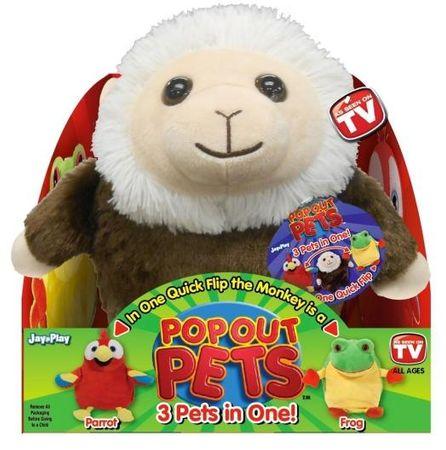 OEM Popoutpets plüss esőerdő (majom, papagáj, béka)