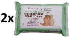 Beaming Baby Organické čistící ubrousky bez vůně, 2 x 72 ks