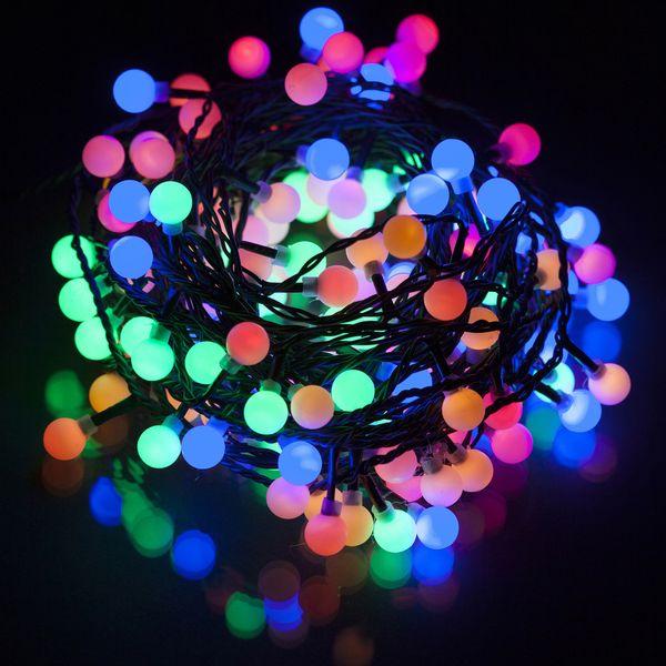 Retlux Vánoční LED řetěz kuličky 15 m barevný
