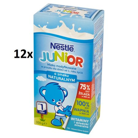 Nestlé Junior Mleko modyfikowane w proszku dla dzieci od 1. roku życia o smaku naturalnym 12 x 350 g