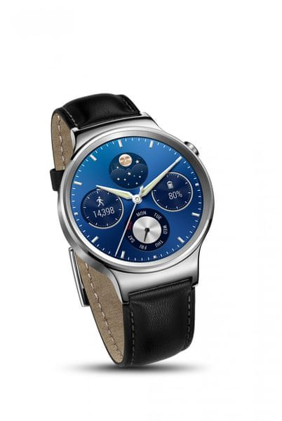 Huawei Watch W1, Stainless Steel Black Leather