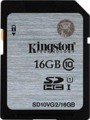Kingston pomnilniška kartica SDHC Class10 UHS-I 16 GB (SD10VG2/16GB)