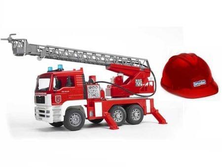 Bruder gasilec z lestvijo in lučko + gasilska čelada