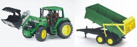 Bruder traktor z nakladalko in prikolico 01134