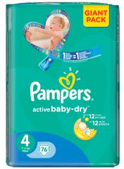 Pampers Active Baby 4 Maxi (7-14kg) Giant Pack - 76 ks