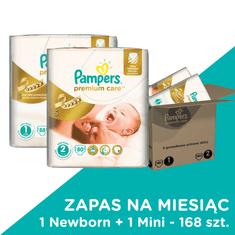 Pampers Premium Care Pieluchy 1 Newborn + 2 Mini 168 szt.