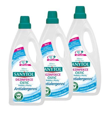 SANYTOL 3 x 1 l antialergenní univerzální čistič, podlahy