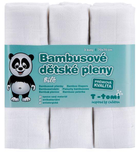 T-tomi Bambusové pleny, sada 3 kusů, bílá + dárek