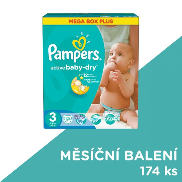 Pampers Pleny Active Baby 3 Midi Mega Box Plus - 174 ks