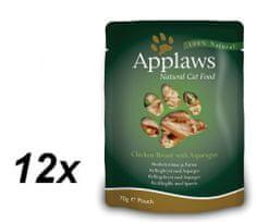 Applaws Macskaeledel, 12x70g, Csirke-spárga