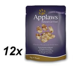 Applaws Macskaeledel, 12x70g, Csirke vadrizzsel